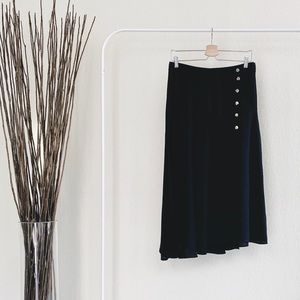 Zara Black Skirt With Side Buttons and Slit Large